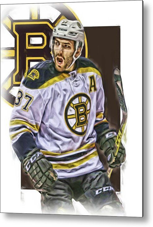 Patrice Bergeron Metal Print featuring the mixed media Patrice Bergeron Boston Bruins Oil Art 1 by Joe Hamilton