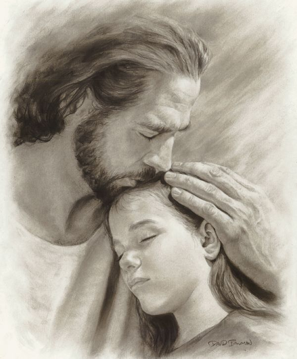 "This piece conveys an intimate, up-close-and-personal feeling of the Savior's love. Notice how all the lines draw your attention and point towards Jesus' face in the center. I chose the name ""My Child"" because the only thing that could compare (even remotely) to Christ's compassion for us is the love of a parent for his/her child. This image is also intended to put things in perspective. Above all, we are God's children first... David Bowman"