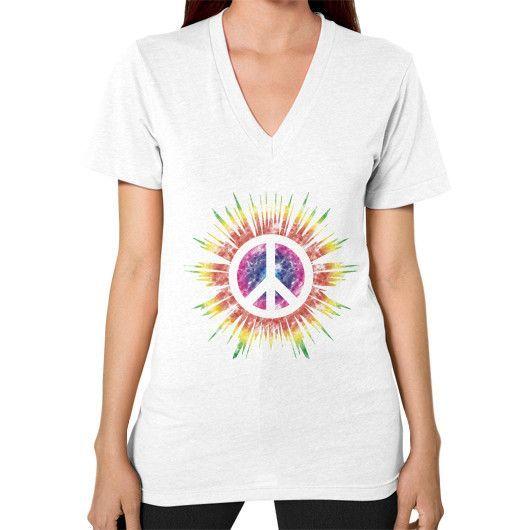 Tie Dye Peace Sign V-Neck (on woman)