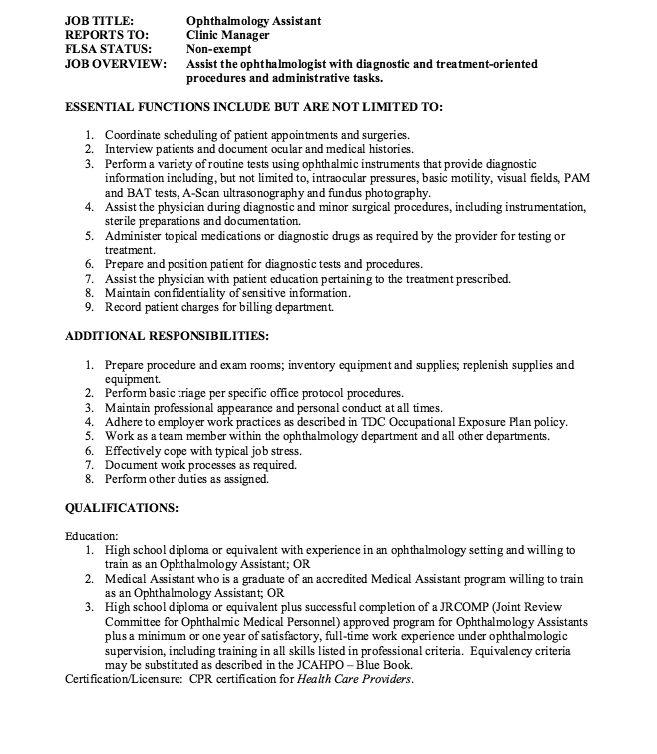 Ophthalmology Assistant Job Description - http://resumesdesign.com/ophthalmology-assistant-job-description/