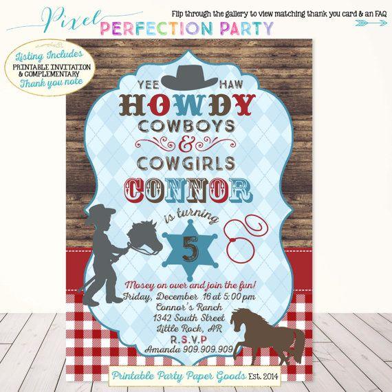 Cowboy Invitation Cowboy Birthday by PixelPerfectionParty on Etsy