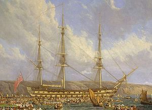 HMS Bellerophon, detail from Scene in Plymouth Sound in August 1815, an 1816 painting by John James Chalon