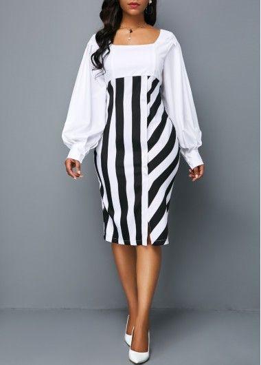 Lantern Sleeve Striped Square Neck Sheath Dress   Rotita.com – USD $26.69