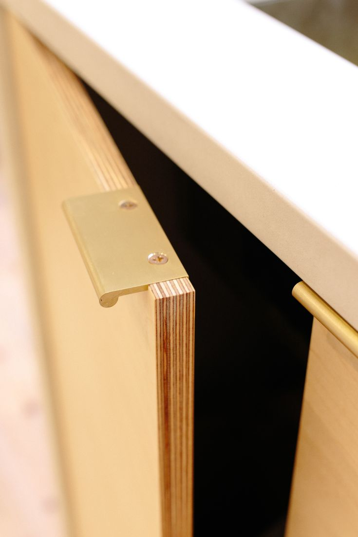 Brass pull handle with birch faced plywood door from Plykea Ltd. All our doors and drawers fronts are made to fit perfectly onto IKEA's Metod base cabinets.