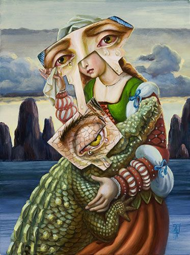 """The Supposedly Shared Sorrow of Magdalene and the Crocodile by Carrie Ann Baade, 9"""" x 12"""", oil on panel, 2009."""