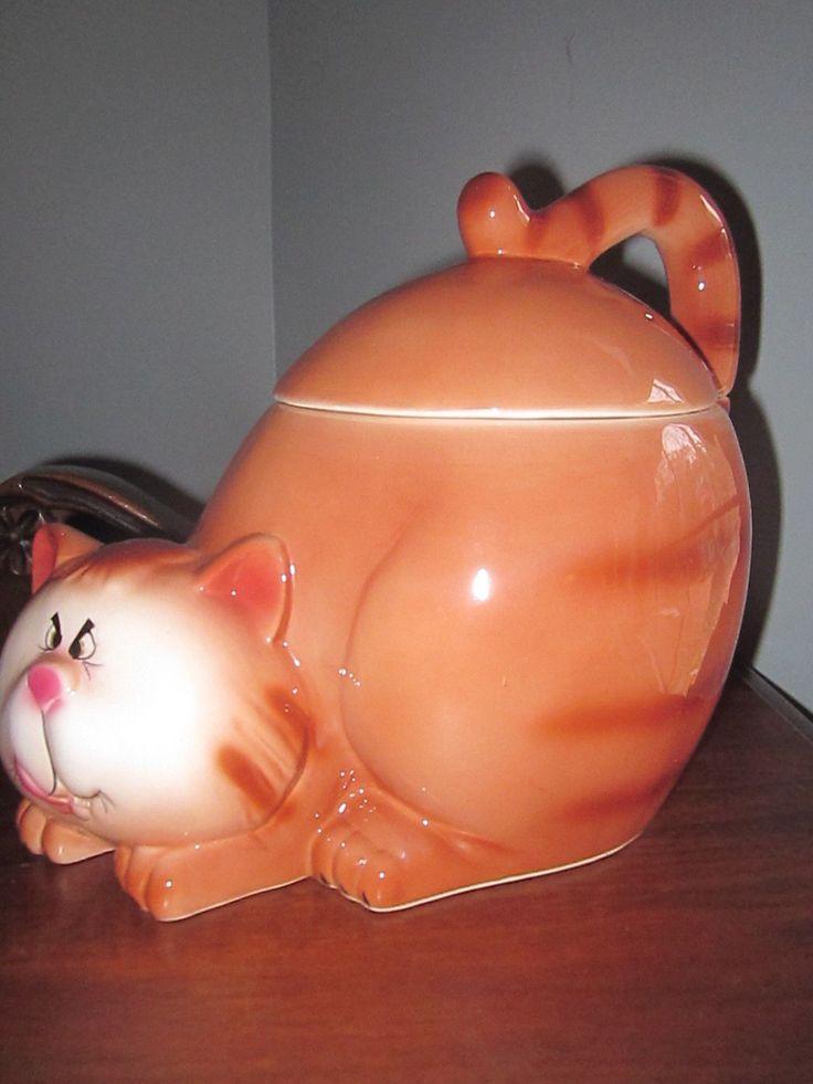 Adorable Cat Cookie Jar Funny Face   eBay