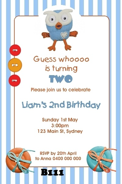 Giggle and Hoot invitation