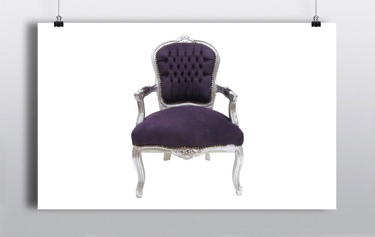 Silver framed throne with purple velvet upholstery. Measures 105cm in height x 60cm in width. http://www.prophouse.ie/portfolio/throne-chairs/