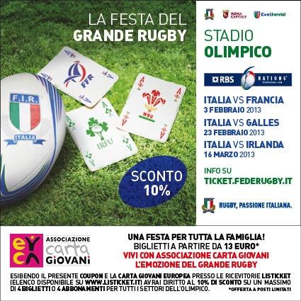 10% di sconto su biglietti e abbonamenti per il Torneo Rugby 6 Nazioni allo Stadio Olimpico Roma -   http://cartagiovani.it/news/2013/01/14/6-nazioni-allolimpico-il-grande-rugby-con-lo-sconto