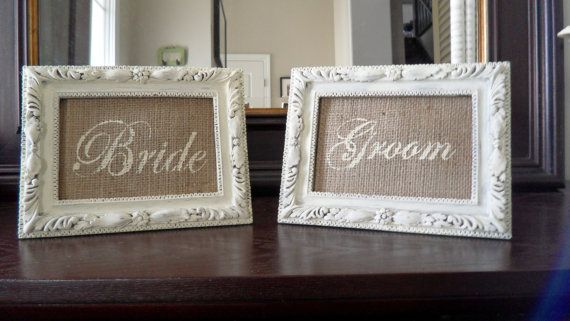 """BRIDE and GROOM 4 x 6"""" Burlap Wedding Sign INSERTS in Shabby Chic Cream- Perfect for Head Table, Place Cards, Bar, French country Home Decor"""