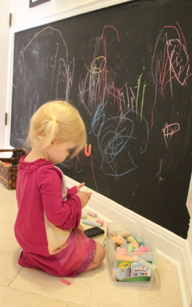 Magnetic chalkboard wall My kids would love this!!