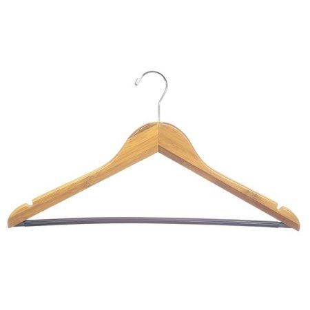 Bamboo Suit Hanger w/ Black Vinyl Bar, Box of 24 Eco-Friendly 17 Inch Flat Wooden Hangers w/ Lacquer Finish & Chrome Swivel Hook for Shirt Jacket or Blouse, by International Hanger