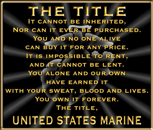 And people wonder why there are not former or ex Marines. No other branch of service is as unified or so named.
