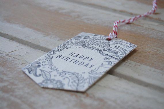 Happy Birthday Letterpress White Swing Tags  set by LittlePeachCo, $10.00
