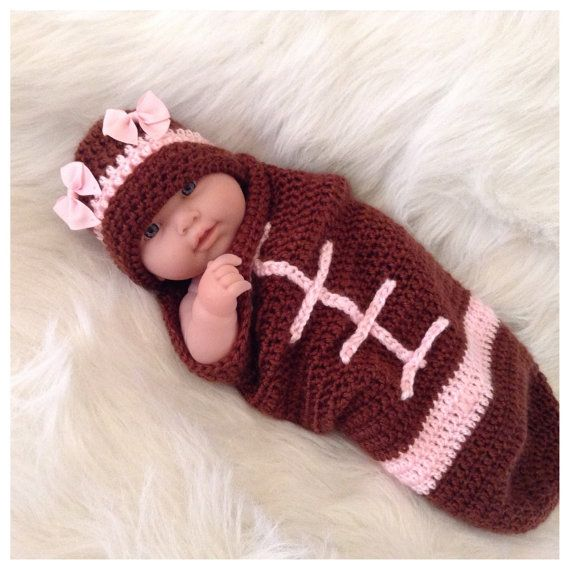 baby newborn infant girls pink football cocoon hat carrier bunting with pink bows infant football halloween costumehalloween - Infant Football Halloween Costume