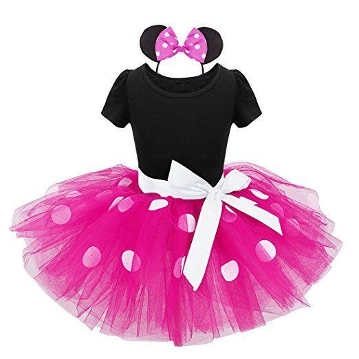 YiZYiF Mädchen Kinder Kostüm Ballettkleid Geburtstag Party Karneval Fasching Cosplay Halloween Kostüm Kleid mit Ohren (80, Schwarz + Dunkel Rosa)