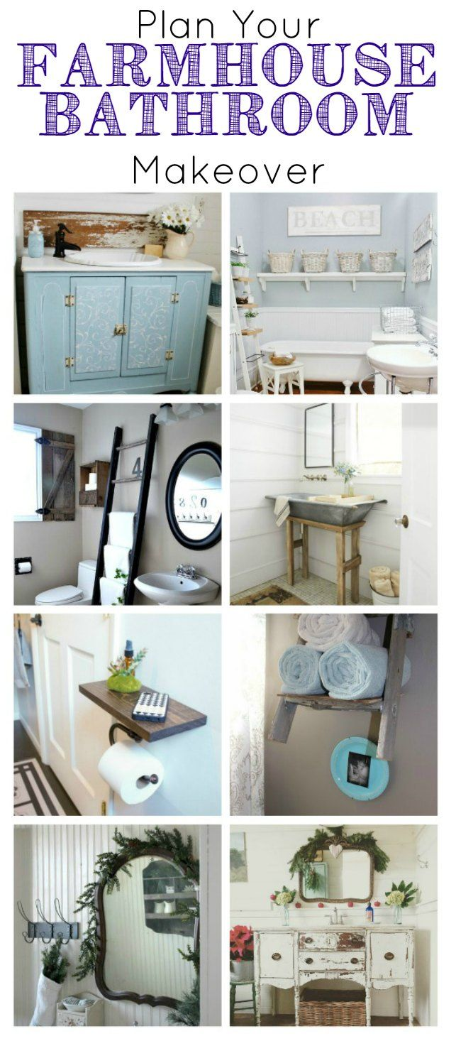 Farmhouse bathrooms design inspiration - KnickofTime.net ~ If you've ever thought about giving your bathroom a farmhouse makeover, you'll find loads of ideas here for inspiration.