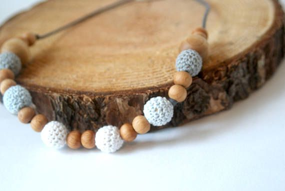 Grey Teething Necklace for Mom Baby Shower Gift Nursing