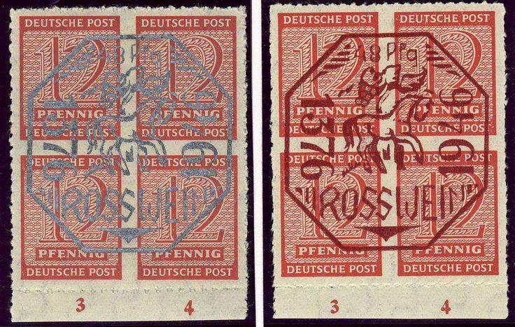 German Local Issue, Roßwein 1946, nicht amtliche Ausgabe, beide 4er-Blocks, postfrisch Pracht (postfr., Mi.-Nr.1,2/Mi.EUR 100,--). Price Estimate (8/2016): 30 EUR.