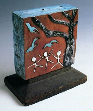 "Füreya Koral, ""Door space"", ( back side) ceramic, 25x25 cm, 1979 (Erdinç Bakla archive)"