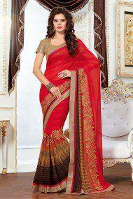 Ashika Georgette Party Wear Designer Saree In Red Colour
