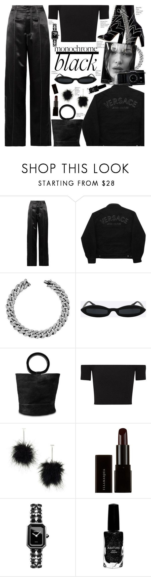 """""""Mission Monochrome: All-Black Outfit"""" by voguefashion101 ❤ liked on Polyvore featuring Beaufille, Versace Jeans Couture, Shay, Simon Miller, Michael Kors, Tuleste, Illamasqua, Chanel and Azature"""