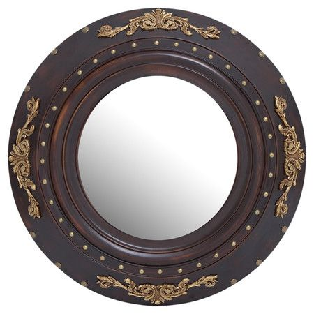 Grooved wood wall mirror with gold-finished accents.  Product: Wall mirrorConstruction Material: Wood and mirror...