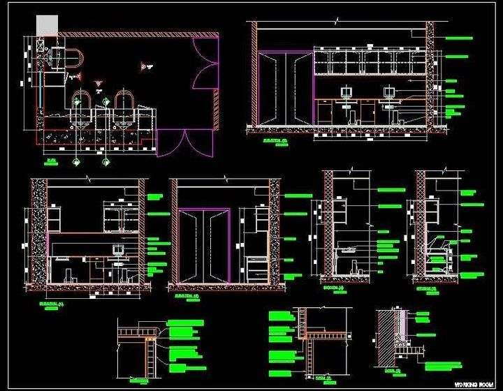 Autocad Drawing Of Small Staff Working Room Design An Office Room Has Got 3 Working Desk With Overhead Storage Drawing Sh Room Design Office Room Staff Room