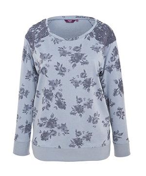 Blue Pattern (Blue) Inspire Washed Blue Floral Crochet Shoulder Sweater    273603749   New Look