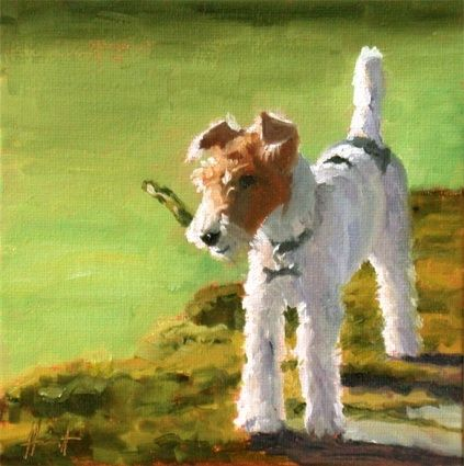Emma, painting by artist Liza Hirst: Terriers Forever, Graphics Art, Dogs Art, Artists Liza, Wire-Hair Foxes Terriers, Terrif Terriers, Liza Hirst, Tenacious Terriers, Dogs Portraits