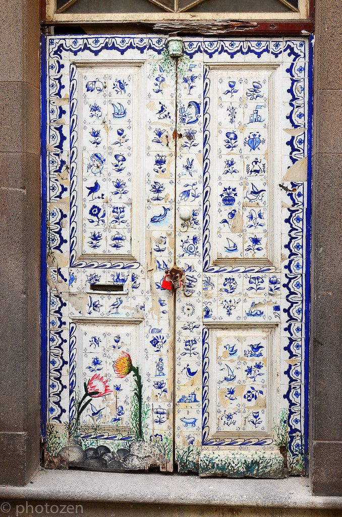 Tile and Painted Door in Old Town Funchal, Madeira Islands, Portugal - photo by photozen48, via Flickr