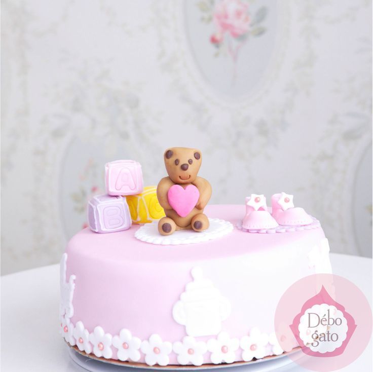 G teau 1 an baby shower naissance noeud perles girly rose bonbon rose bleu fleurs - Gateau anniversaire bebe fille ...