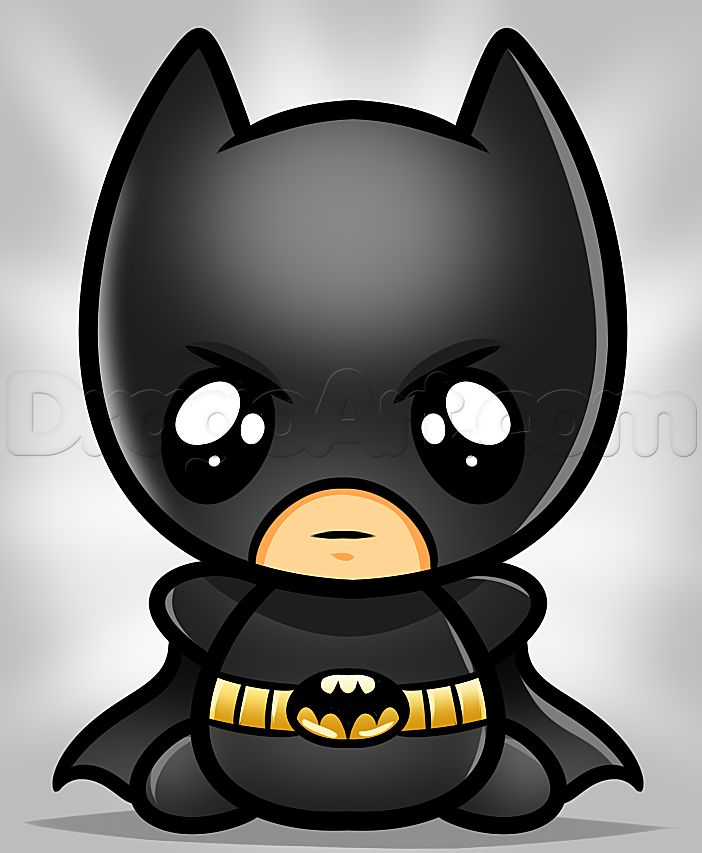 how to draw kawaii batman | how to draw cartoon animals ...