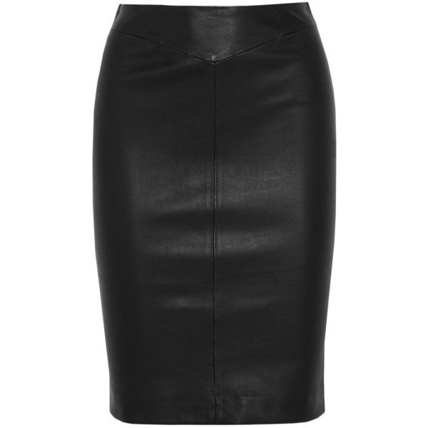 Joseph Clara stretch-leather pencil skirt ($955) ❤ liked on Polyvore featuring skirts, black, leather panel skirt, knee length leather skirt, leather pencil skirt, stretch pencil skirt and pencil skirts