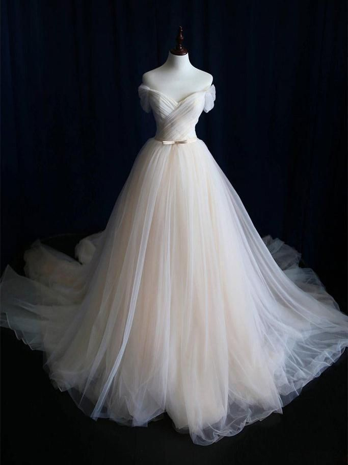 A-line Off Shoulder Prom Dress Tulle Prom Dresses/Evening Dress SKY284 - DemiDress.com
