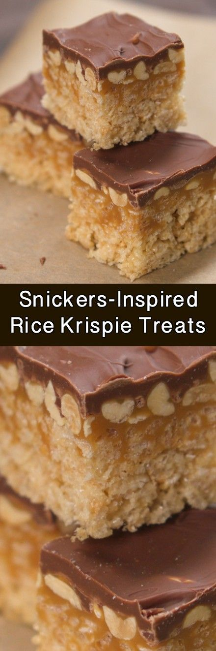 Keep the sweet treats going with this candy-bar-inspired twist on a classic childhood favorite: Snickers-Inspired Rice Krispie Treats! You'll love them!
