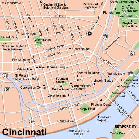 Cincinnati Map Tourist Attractions Ohio Pinterest