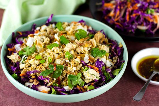Chicken larb salad with red cabbage. Omit carrots and use stevia for palm sugar.