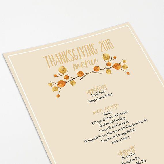 Printable Thanksgiving Menu Template  Thanksgiving