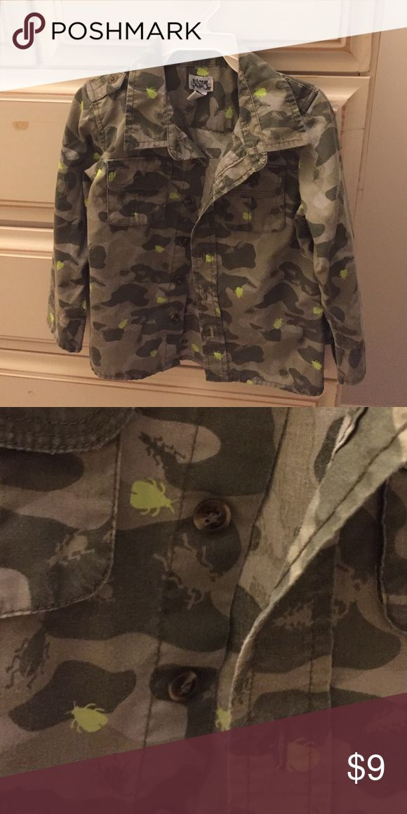 Camouflage shirt for boys Adorable camouflage button down shirt w lime green bugs.  My boys loved this shirt. Shirts & Tops Button Down Shirts