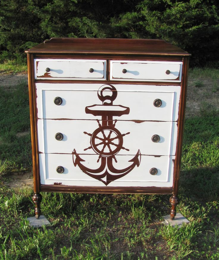 Reverse stencil painted anchor dresser - nautical idea for kids room, beach house, lake house, etc.  Antique distressed chest of drawers by Silver Lining Decor