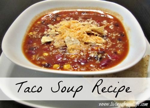 One of my favorite things to make in the winter with left over taco meat is to make taco soup! Super quick, easy and a wonderful way to use up left overs. Frugal Family Taco Soup Recipe Print Fru...