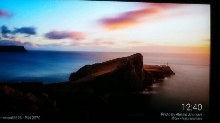 Lighthouse at sunset. Chromecast photo taken from the tv.