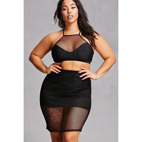Forever21 Plus Size Sheer Mesh Skirt ($25) ❤ liked on Polyvore featuring plus size women's fashion, plus size clothing, plus size skirts, plus size mini skirts, black, short mini skirts, mini skirt, elastic waist skirt, short slit skirt and forever 21
