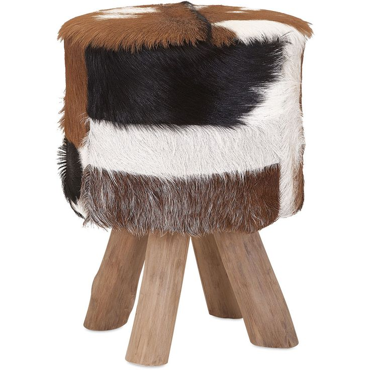 Antuco Teak And Animal Hide Stool Products Teak And Animals