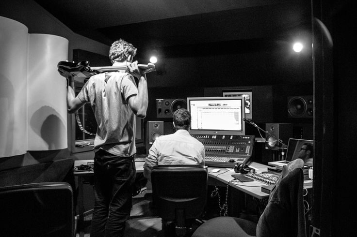Band practice - Checking the progress #band #play #record #bw #black #and #white #studio