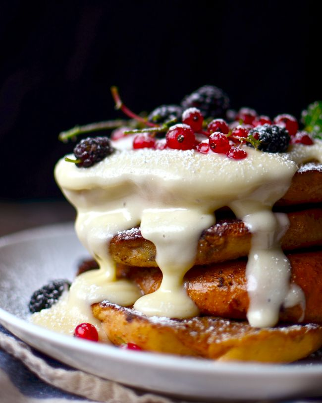 Blueberry Bagel French Toast with Cream Cheese Glaze