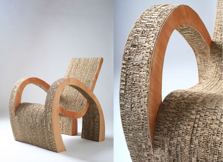 #BeautifullyUpcycled - Exposed cardboard gives great texture and dimension to this chair made from recycled cardboard. Design by Argentinian designer Ana Motrano.: Curvy Cardboard, Cardboard Furniture, Cardboard Cartons, Furniture Design, Cardboard Art Furniture, Cardboard Chairs, Argentinian Design, Design Ana, Recycled Cardboard