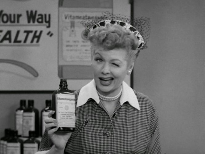 """In the classic episode, Ricky is hosting a TV show and needs someone to do a commercial spot. Lucy begs to do it, but Ricky refuses, even after Lucy pulls apart their television set, climbs inside and demonstrates what a fine spokeswoman she would be. She schemes her way onto the show, and does take after take of the ad for the cure-all tonic """"Vitameatavegamin,"""" which contains 23% alcohol. The more takes she does, the better the product tastes, and the harder it is for Lucy to stay on…"""