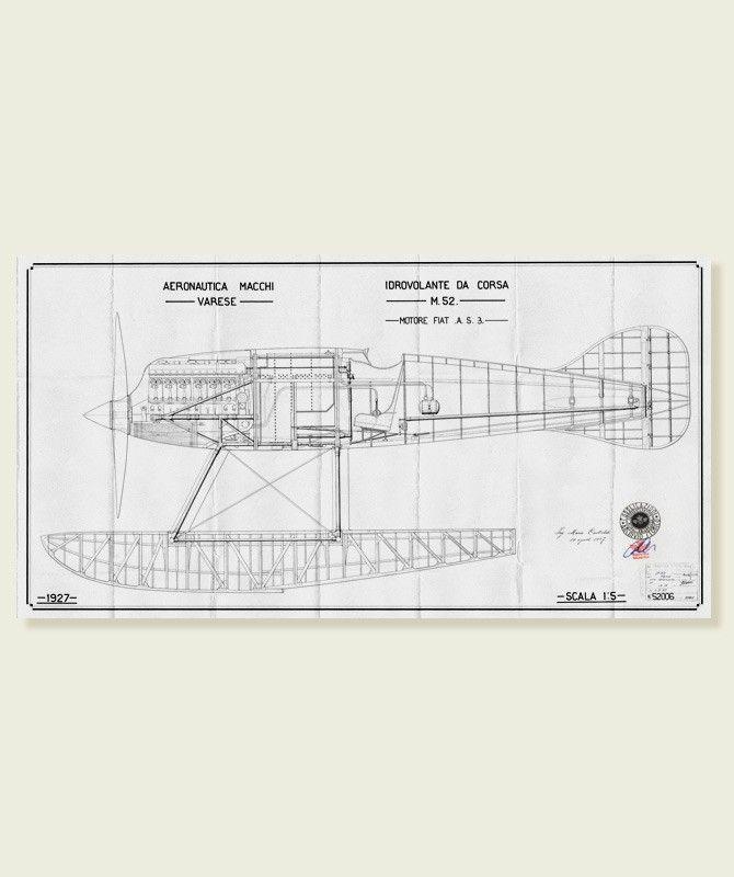 Macchi m39 b w construction plan scale 1 5 print on for Construction plan printing